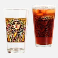 Mardi Gras Mask and Beautiful Woman Drinking Glass