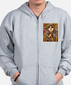 Mardi Gras Mask and Beautiful Woman Zipped Hoody