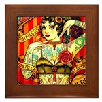 Chapel Tattooed Beautiful Lady Framed Tile
