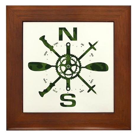 Adventure Compass Framed Tile