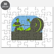 Rower Rowing Machine Half Circle Retro Puzzle