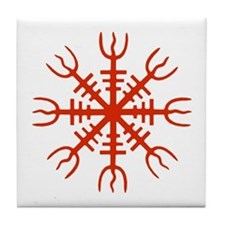 Red Aegishjalmur Tile Coaster