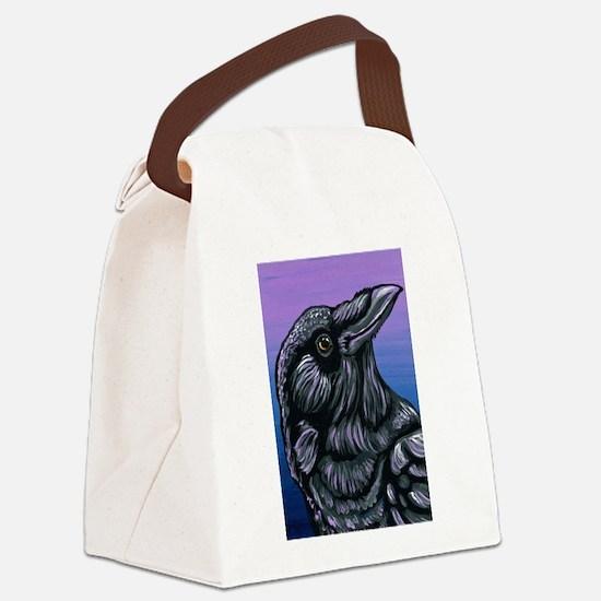 Purple Crow Raven Canvas Lunch Bag
