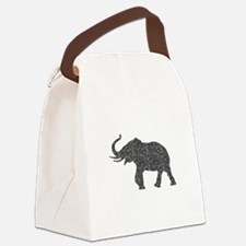 Gray Glitter Elephant Canvas Lunch Bag