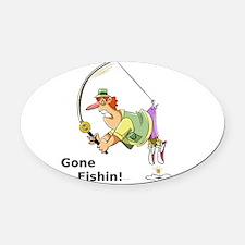 Gone Fishin! Oval Car Magnet