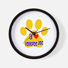 I Love Yorkipoo Dog Wall Clock