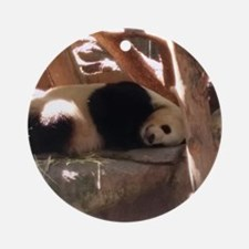 Sleeping Panda Round Ornament