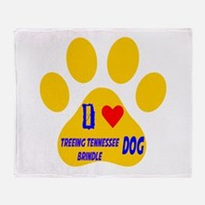 I Love Treeing Tennessee Brindle Dog Throw Blanket