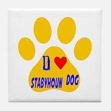 I Love Stabyhoun Dog Tile Coaster