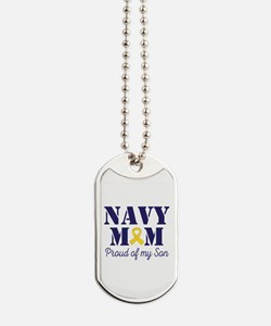 Navy Mom Proud Son Dog Tags