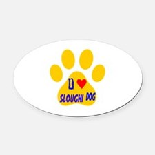 I Love Sloughi Dog Oval Car Magnet