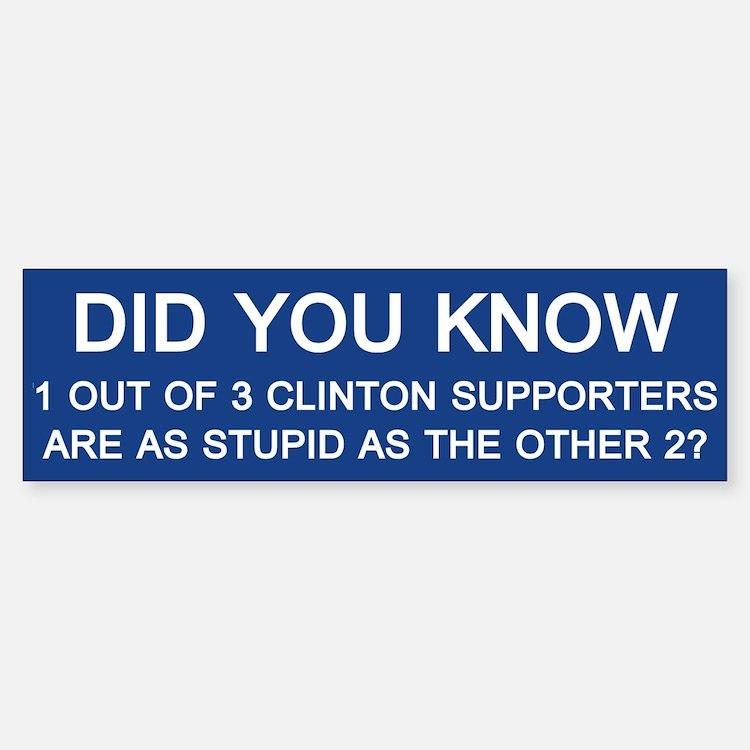 Clinton Supporters Stupid Bumper Bumper Bumper Sticker