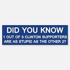 Clinton Supporters Stupid Bumper Car Car Sticker