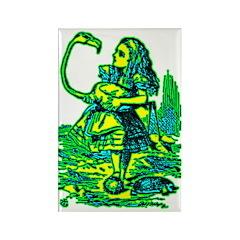 Alice & Flamingo Rectangle Magnet (100 pack)