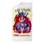 TWA Fly to Las Vegas Vintage Art Print Beach Towel
