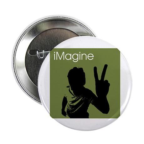 """iMagine Peace - Siloette - Green 2.25"""" Button"""