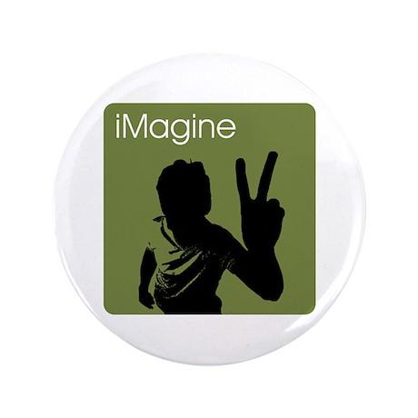 """iMagine Peace - Siloette - Green 3.5"""" Button"""