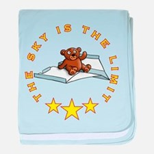 teddy bear flying on paper plane baby blanket