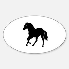 Go West Go Mustang Oval Decal