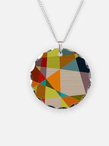 Mid Century Modern Geometric Necklace Circle Charm
