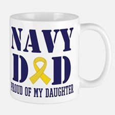Navy Dad Proud Of Daughter Mugs
