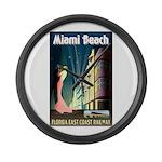 Miami Beach Art Deco Railway Print Large Wall Cloc