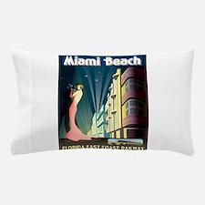 Miami Beach Art Deco Railway Print Pillow Case