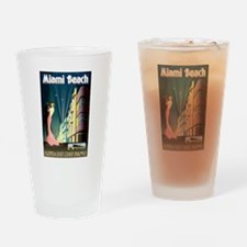 Miami Beach Art Deco Railway Print Drinking Glass