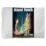 Miami Beach Art Deco Railway Print Pillow Sham