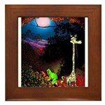 Giraffe and Frog Art Deco Abstract Fantasy Print F