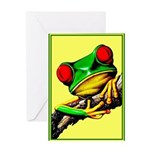Abstract Fantasy Art Deco Tree Frog Greeting Cards