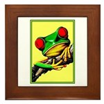 Abstract Fantasy Art Deco Tree Frog Framed Tile
