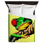 Abstract Fantasy Art Deco Tree Frog Queen Duvet