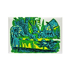 Alice at Tea Party Rectangle Magnet (100 pack)