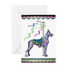 Great Dane Blue Carousel Greeting Card