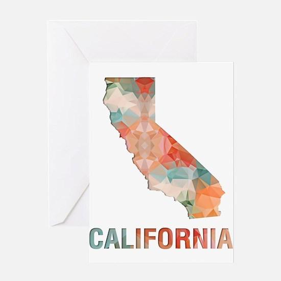 Mosaic Map CALIFORNIA Greeting Cards