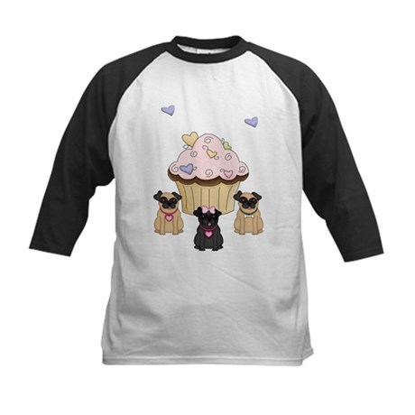 Pug Dog Cupcakes Kids Baseball Jersey