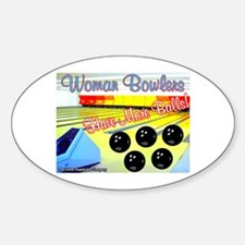 Woman Bowlers Oval Decal