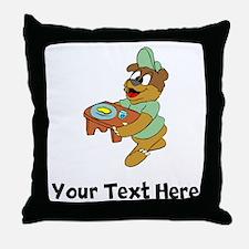 Bear With Food Tray (Custom) Throw Pillow