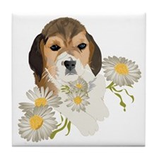 Beagle Pup & Daisies Tile Coaster