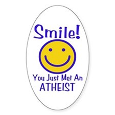 Atheist Smiley Oval Decal
