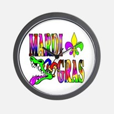 Mardi Gras with Gator Wall Clock