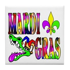 Mardi Gras with Gator Tile Coaster