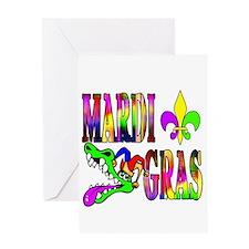 Mardi Gras with Gator Greeting Card