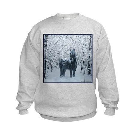 Winter horse. Christmas horse Kids Sweatshirt