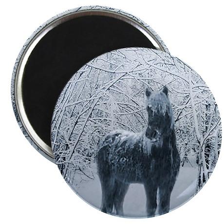 Winter horse. Christmas horse Magnet