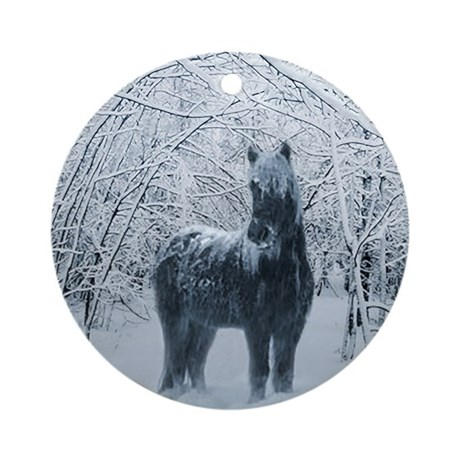 Winter horse. Christmas horse Ornament (Round)