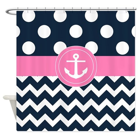 Navy Pink Anchor Shower Curtain By
