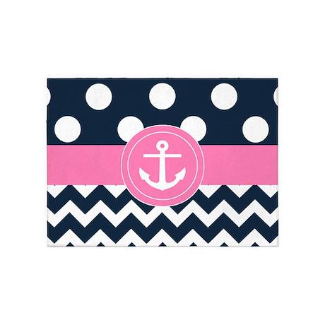 Navy Pink Anchor 5u0027x7u0027Area Rug