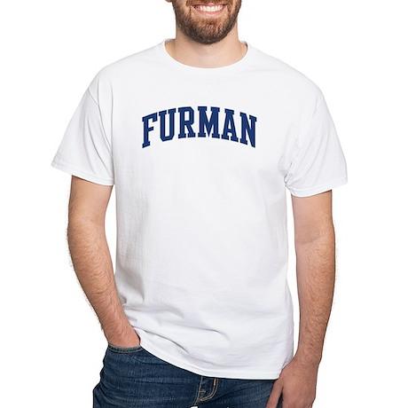FURMAN design (blue) White T-Shirt